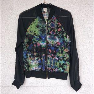 Sheer Zip-Up Blazer Jacket